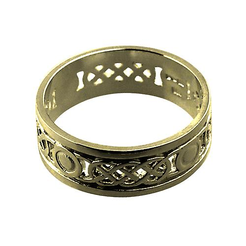 18ct Gold 8mm pierced Celtic Wedding Ring Size Z+1