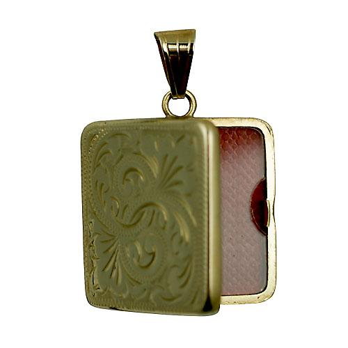 9ct Gold 22mm hand engraved flat square Locket