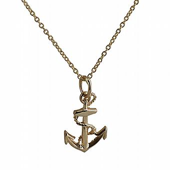 9ct Gold 17x13mm Anchor Pendant with a cable Chain 20 inches