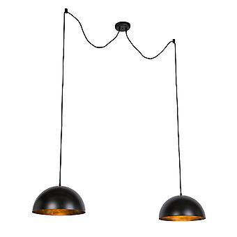 QAZQA moderni pyöreä riipus lamppu 2 musta ja kulta - Magna 35cm