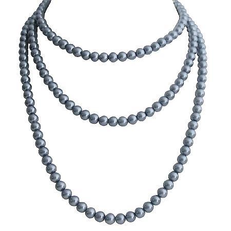 Medium Gray Pearls Handmade Long Necklace Three Stranded Necklace