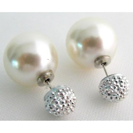 Wedding Bridesmaid Double Sided Ivory Pearl Pave Ball Stud Earrings
