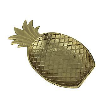 Metallic Gold Metal Tropical Pineapple Decorative Dish