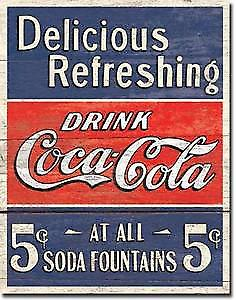 Coca Cola Delicious 5c at Fountains metal sign (port.)