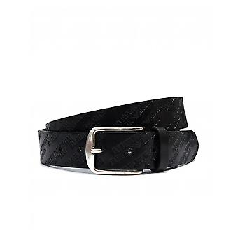Armani Jeans All Over Script Leather Belt