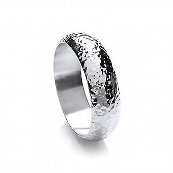 Cavendish French Classic Wide Hammered Sterling Silver Bangle
