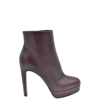 Casadei Burgundy Leather Ankle Boots