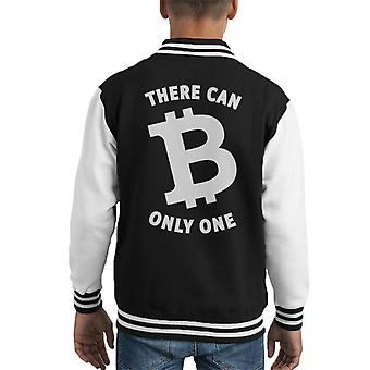 White Text There Can B Only One Bitcoin Kid's Varsity Jacket
