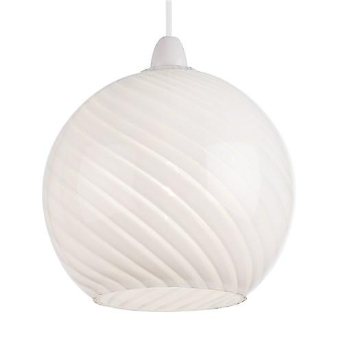 Endon NE-LOWTHER-WH Non Electric White Glass Pendant Shade With Swirl Design