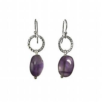 Toc Sterling Silver Delicate Amethyst Oval Shape Drop Earrings