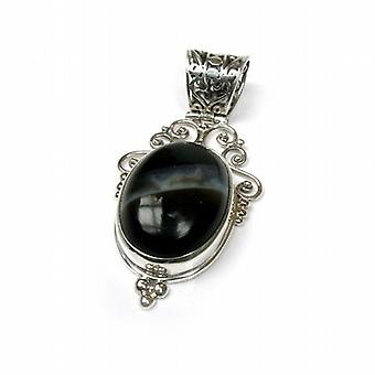 Sterling Silver Black Banded Agate Pendant on 18 Inch Chain