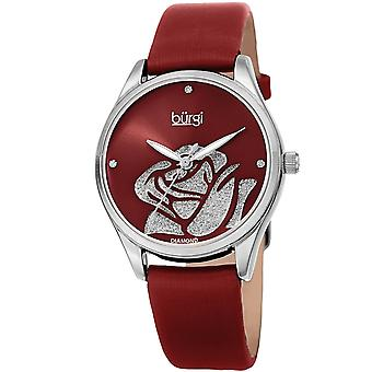 Burgi Women's Quartz  Rose Cut-Out Dial with Glitter Powder Satin Over Leather Strap Watch BUR189RD