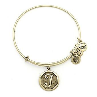 Alex en Ani initiële T Gold Bangle A13EB14TG