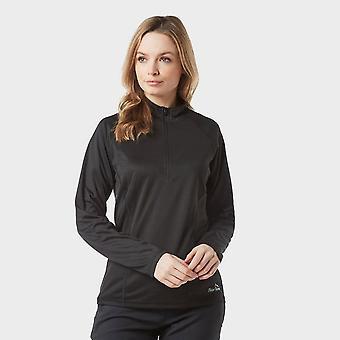 Nieuwe Peter Storm Women's lange mouw zip tech tee zwart