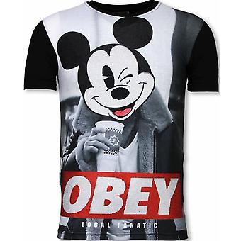 Obey Mouse-Digital Rhinestone T-shirt-Noir