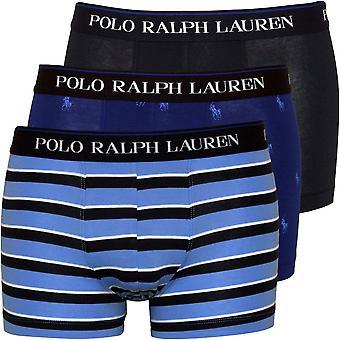 Polo Ralph Lauren 3-Pack Allover Polo, Stripe et Solid Boxer Trunks, Marine/Bleu
