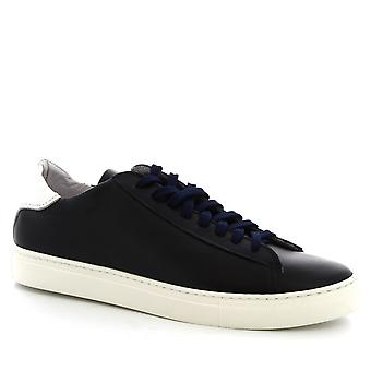 Leonardo Shoes Men's handmade lace-ups sneakers shoes in blue calf leather