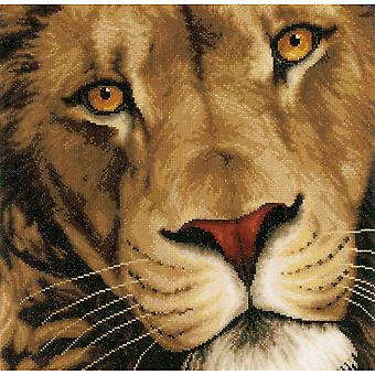 LanArte King Of Animals On Cotton Counted Cross Stitch Kit-13.75
