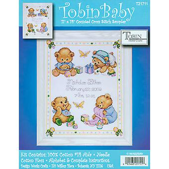 Baby Bears Birth Record Counted Cross Stitch Kit 11