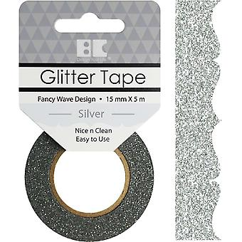 Best Creation Designer Glitter Tape 15mmX5m-Silver Fancy Wave GTD-401