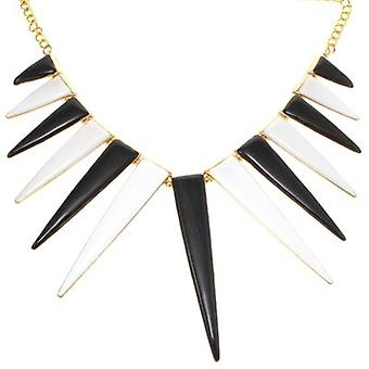 Or Kenneth Jay Lane plaqué noir et blanc émail Collier de Spike