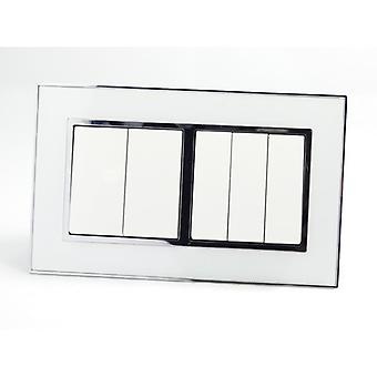 I LumoS AS Luxury White Mirror Glass Double Frame 5 Gang 1 Way Rocker Light Switches