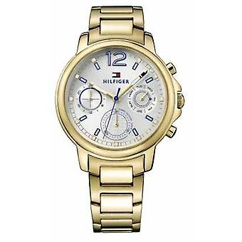 Tommy Hilfiger Womens Claudia Gold Tone Stainless Steel White Dial 1781742 Watch