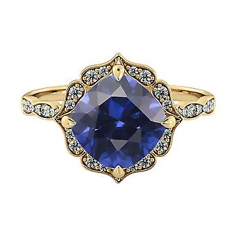 Blue Sapphire 3.25 ctw Ring with Diamonds 14K Yellow Gold Flower Leaves Halo