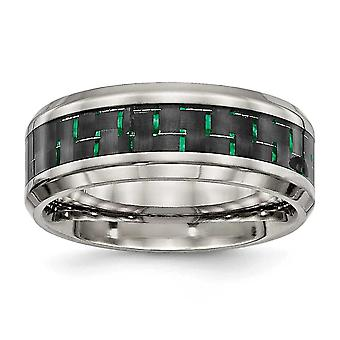 8mm Stainless Steel Polished Black Green Carbon Fiber Inlay Ring - Ring Size: 7 to 13
