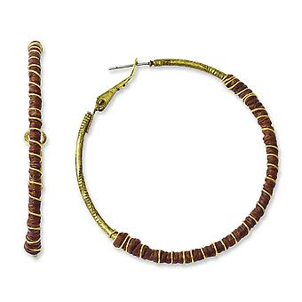Tru Brass With Brown Waxed Linen and Gold-tone Wire Hoop Earrings - 6.8 Grams