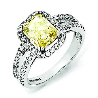 Sterling Silver CZ Canary Square Ring - Ring Size: 6 to 8