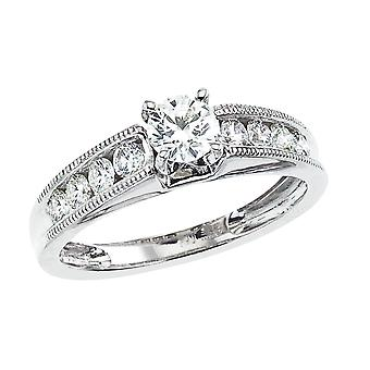 14k White gold Classic Diamond QPID Engagement Ring (0.70 tcw)