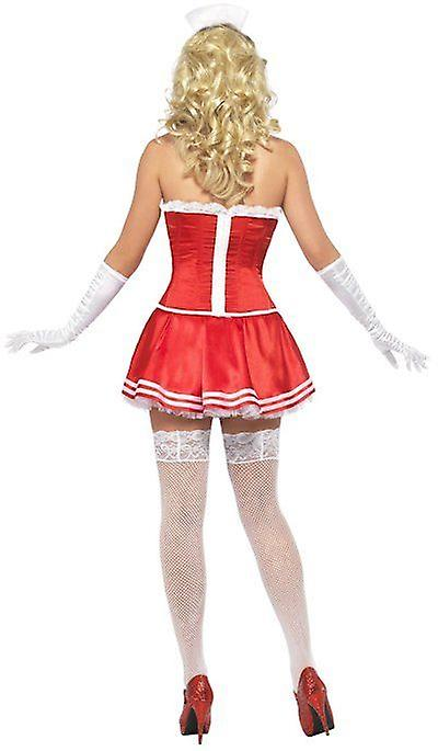 Smiffys Fever Boutique Nurse Costume Red And White Fancy Dress Outfit