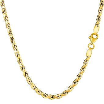 14k Yellow Gold Solid Diamond Cut Royal Rope Chain Necklace, 3.5mm