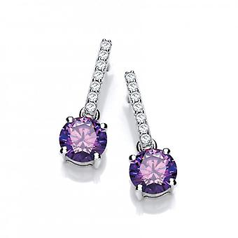 Cavendish French Round Amethyst Cubic Zirconia Solitaire Drop Earrings
