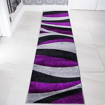 Contemporary Purple & Black Wave Hall Runner Rug - Rio