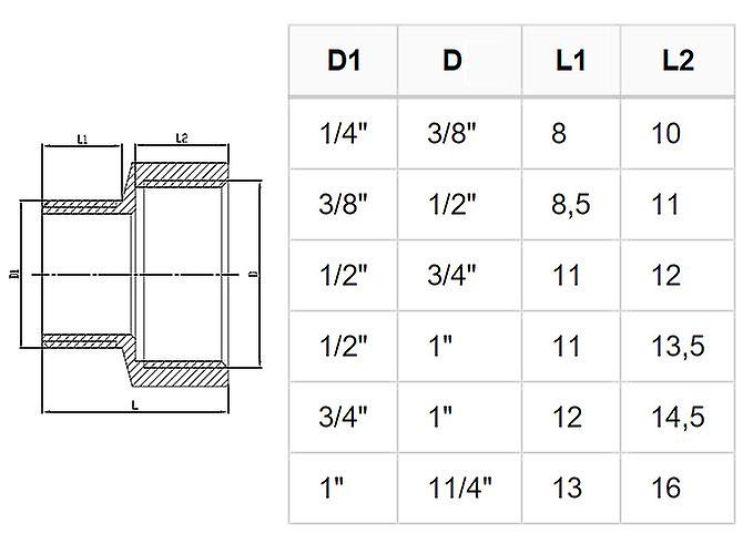 Brass Pipe Connection Reduction Fittings Female x Male FxM 3/8