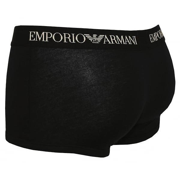 Emporio Armani 2-Pack puro algodón boxeador troncos, negro