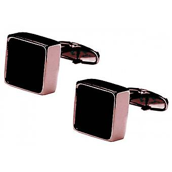 denisonboston Mindy Onyx Centre Cufflinks - Rose Gold/Black