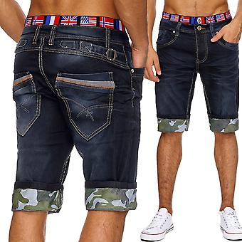Men's jeans shorts short trousers Stonewashed classic summer flag United States cargo Cap