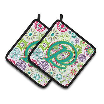 Letter P Flowers Pink Teal Green Initial Pair of Pot Holders