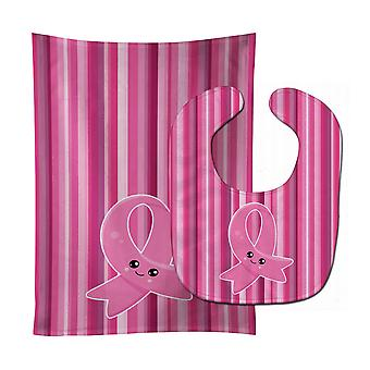 Breast Cancer Awareness Ribbon Face Baby Bib & Burp Cloth