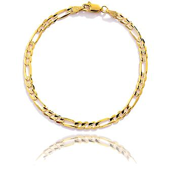 Floreo 10k Yellow Gold Solid Italian Figaro Chain Wrist and Ankle Bracelet, 0.16 Inch (4mm)