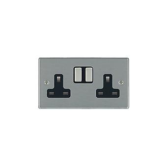 Hamilton Litestat Hartland Satin Stainless 2g 13A DP Switched Socket SS/BL