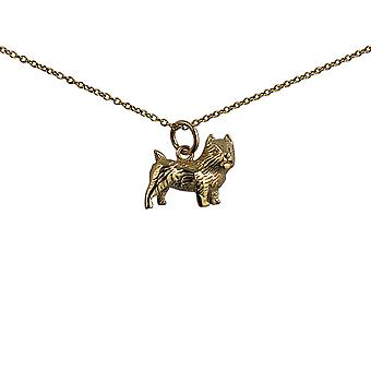 9ct Gold 16x13mm Cairn Terrier Pendant with a cable Chain 16 inches Only Suitable for Children