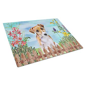 Jack Russell Terrier #2 Spring Glass Cutting Board Large