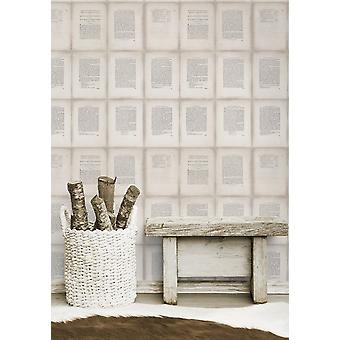 Inside Book Taupe Wallpaper - 3 x rolls