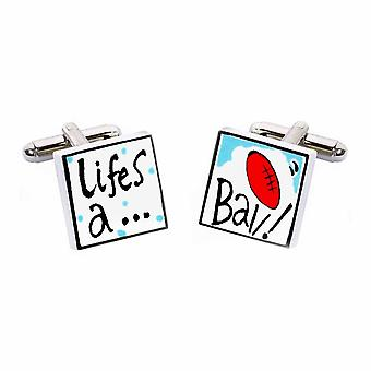 Life's a Ball Cufflinks by Sonia Spencer, in Presentation Gift Box. Hand painted