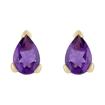 Gemondo 9ct Yellow Gold 0.65ct Amethyst Single Stone Pear Stud Earrings