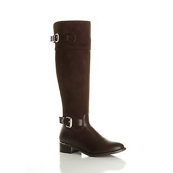 Ajvani womens block low mid heel gold buckle contrast zip calf riding boots